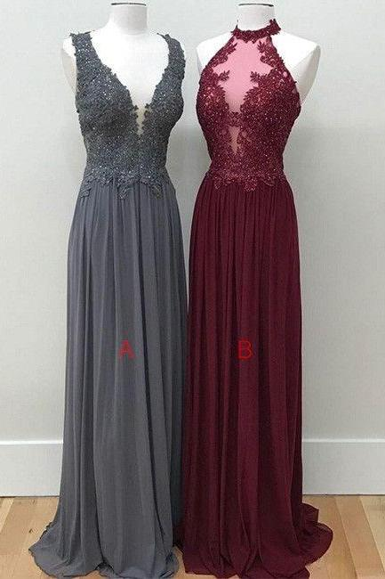 Elegant Evening Dresses,Burgundy Prom Dresses,Beautiful Low Back Sequins and Appliques Prom Dresses,V Neckline Prom Dresses,Prom Dresses 2017