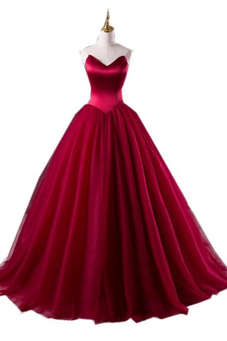 Burgundy Strapless Sweetheart Ball Gown Long Prom Dress, Evening Dress Featuring Lace-Up Back