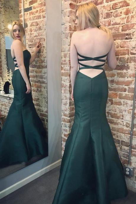 Mermaid Prom Gowns,Sweetheart Cross Back Dark Green Satin Gowns,Mermaid Evening Gowns,Prom Dresses 2017