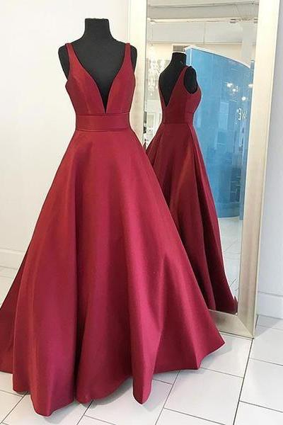 Formal Dresses,Burgundy Prom Dresses,Ball Gowns Evening Gowns,Satin Gowns,Evening Party Dresses,Prom Dresses 2017