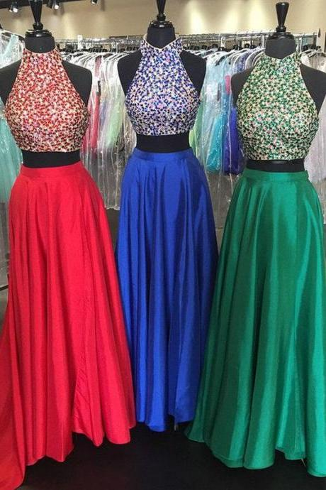 Two Piece Prom Dresses 2017,Halter Style Crystal Satin Prom Dresses Long,New Fashion Satin Gowns,Party Dresses,Red Dresses