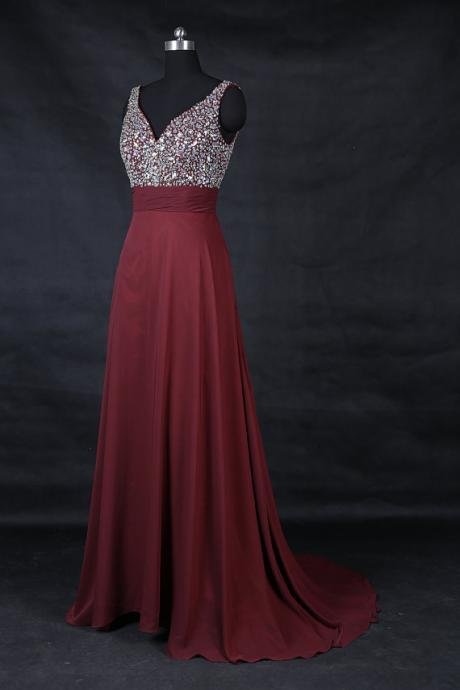 Crystal and Beads Empire Prom Dresses Long,Prom Dresses 2017,Real Made Party Dresses,Sweep Train Burgundy Prom Dresses,Pageant Gowns