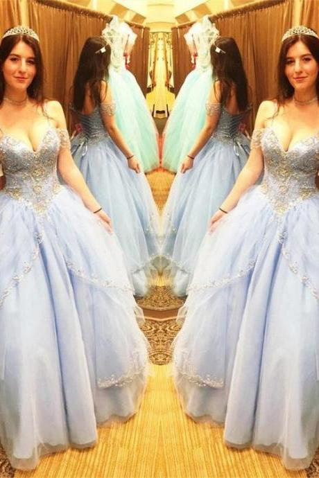 Quinceanera Dresses,Off the Shoulder Beads Ball Gowns Sweet 16 Dresses,Crystal Quinceanera Dresses,Blue Quinceanera Dresses