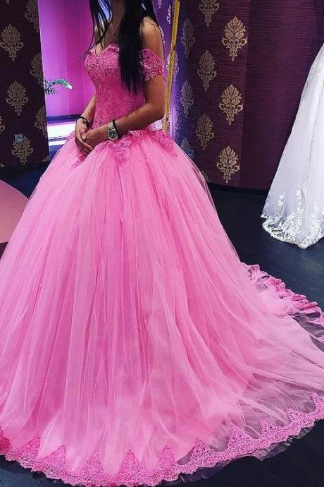 Quinceanera Dresses,Off the Shoulder Tulle Ball Gowns Sweet 16 Dresses,Pink Quinceanera Dresses,Ball Gowns Prom Dresses