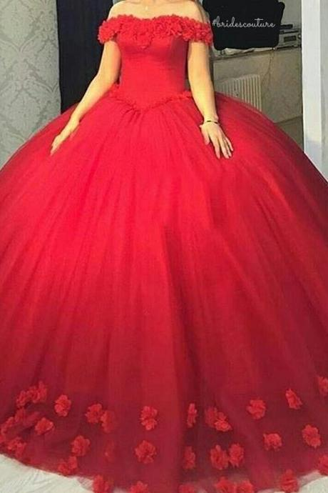 Flowers Ball Gowns Bridal Dresses,Red Wedding Dresses,Sweet 16 Dresses