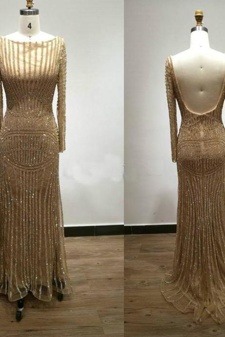 Sexy Evening Dress,Champagne Gold Evening Party Dress,Luxury Evening Gowns,Long Sleeves Prom Gowns,Arabian Style Gowns