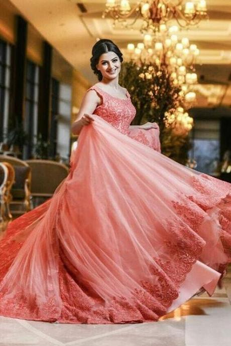 Lace Appliques Coral Ball Gowns Prom Dress,Sweep Train Prom Dress for Engagement,Gorgeous Bridal Dress 2017,Prom Dress Long