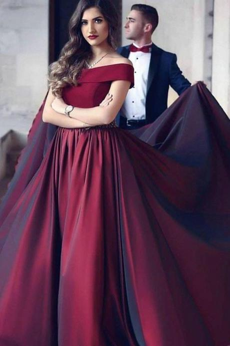 Taffeta Prom Dress Long,Off the Shoulder A Line Prom Dress,Evening Dress with Crystal Belt,Elegant Evening Party Dress