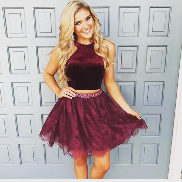 Velvet and Lace Fabric Two Piece Homecoming Dresses,Halter Neck Burgundy Prom Dresses Short 2018,Beaded Waist Mini Graduation Dresses