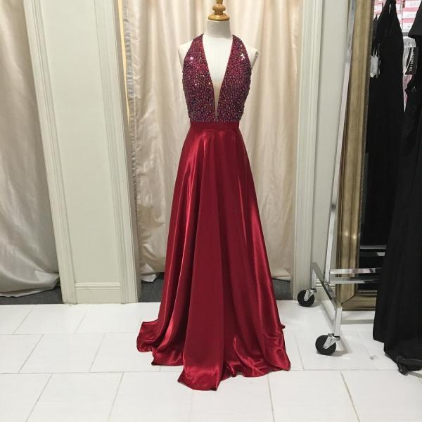 Attractive Crystal Deep V Neckline Prom Dresses 2018,Red Sparkling Long Prom Dresses