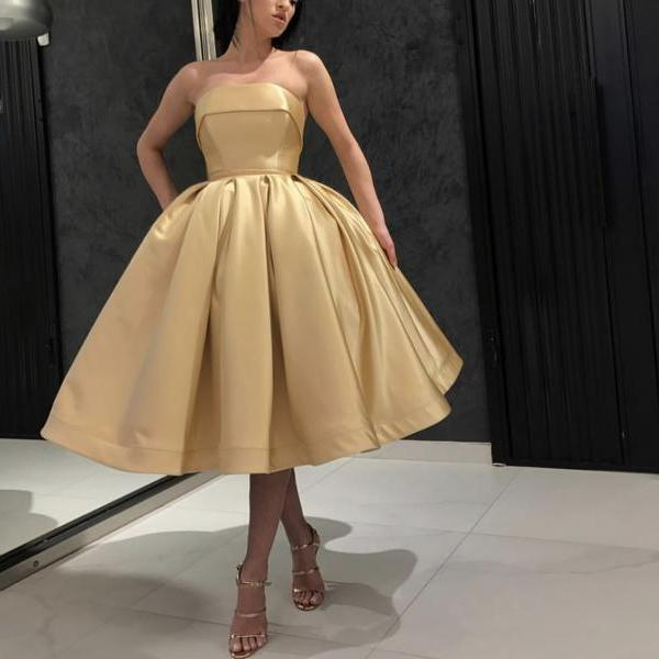 Tea Length Ball Gown Prom Dresses 2019,Champagne Gold Short Party Goawn,Pleated Evenig Party Dresses