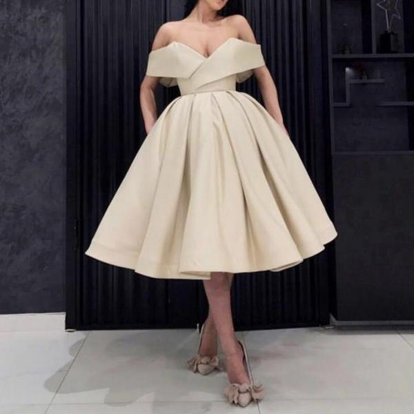 Gold Off the Shoulder Prom Dresses Short,Ball Gown Party Dresses,New Arrival Evening Party Dresses 2019