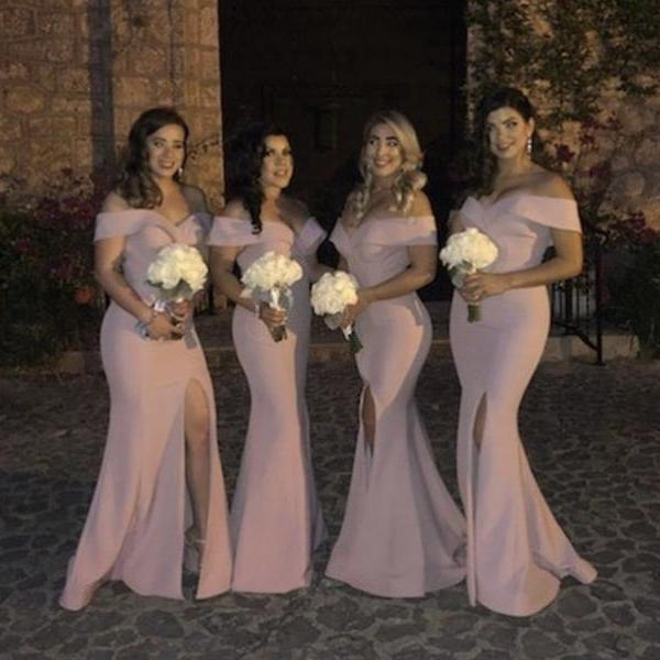Off The Shoulder Mermaid Bridesmaid Dresses,Side Slit Bridesmaid Dresses,Long Bridesmaid Dresses 2019