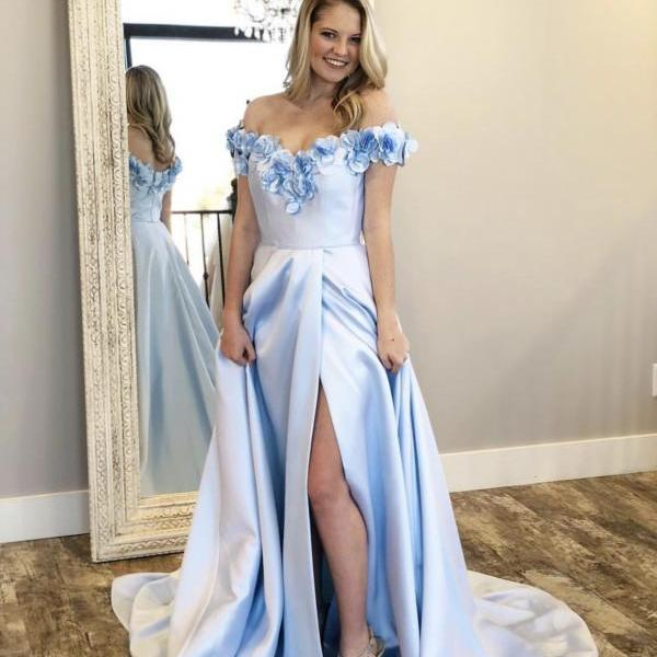 Appliqued Flowers Prom Dresses,Off the Shoulder Long Prom Dresses,Sexy Leg Slit Party Dresses 2019