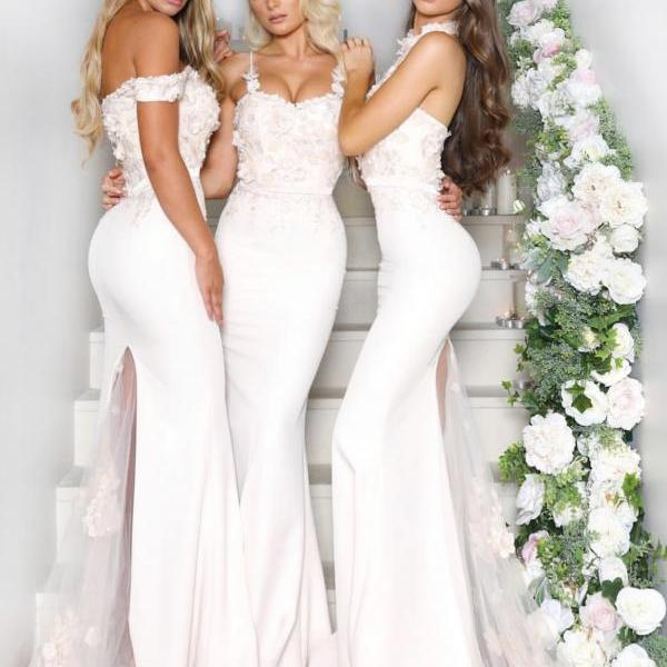 New Arrival Halter Neck Mermaid Bridesmaid Dresses,Flower Tulle Sweep Train Bridesmaid Dresses Long,Off the Shoulder Dresses for Bridesmaid 2019