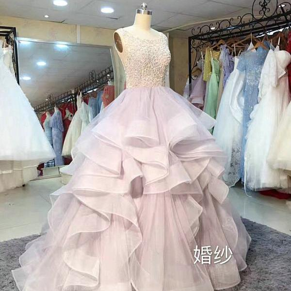 Boat Neck Beads Ball Gown Wedding Dresses 2017,Bridal Dresses 2017,Ball Gown Prom Dresses,Prom Dresses 2017