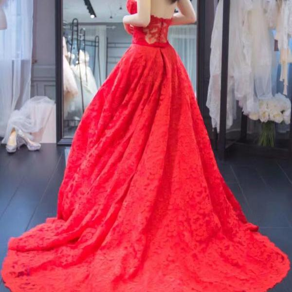 Lace Evening Dress 2017,Real Made Red Lace Evening Gown,Prom Dress Lace;Elegant Long Sweetheart Wedding Party Gown