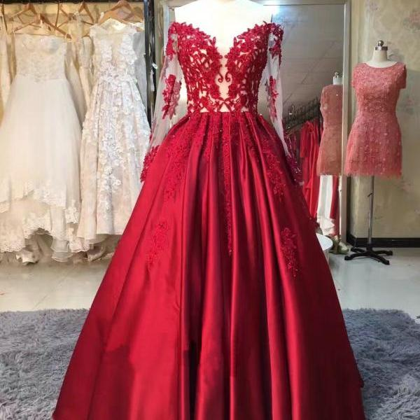 Evening Dress 2017,Formal Dresses,Vintage Prom Dress Ball Gown,Lace Appliqued Evening Gown,Satin Prom Dresses,Long Sleeve Wedding Party Dress
