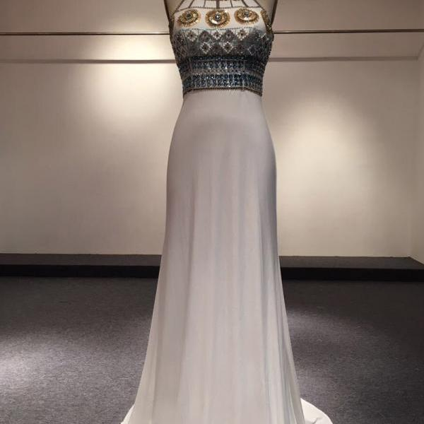 Backless Party Dresses,Sheath High Neck Vintage Evening Gown,Top Sequined Beaded Crystal Princess Prom Dress,Two Straps Long Formal Pageant Dresses
