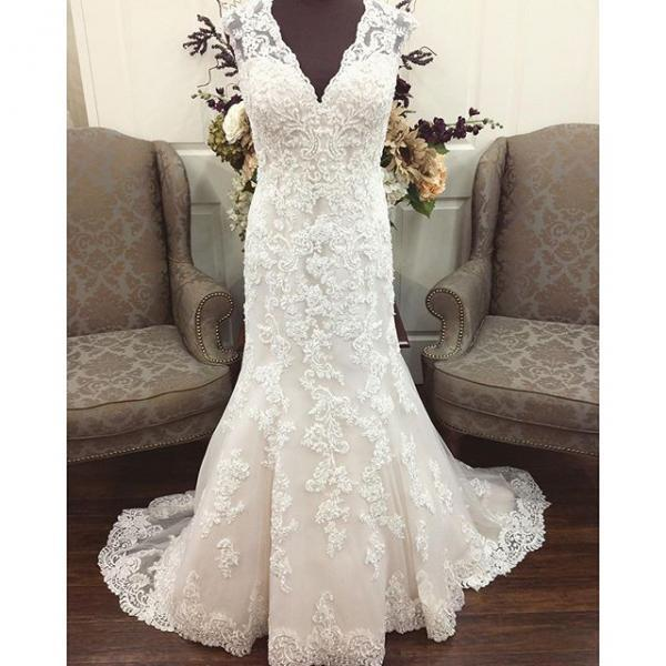 Vintage Lace Wedding Dresses,Cap Sleeve Sequins Mermaid Bridal Gowns 2017,Real Made Plus Size Lace Wedding Dresses