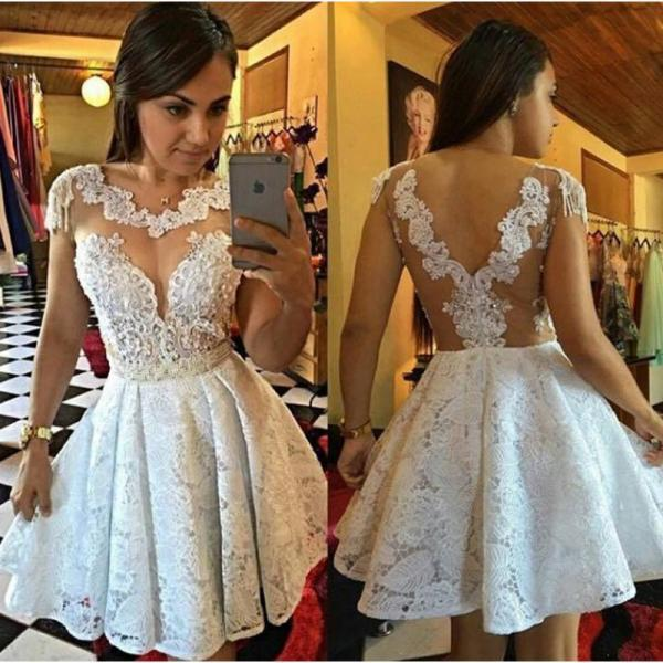 Short Prom Dresses,Sheer Back Sexy Lace A Line Cocktail Dresses, Pleated White Lace Cocktail Party Dresses 2017