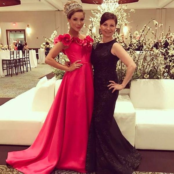 Flowers Neck Long Prom Dresses,Sweep Train Evening Party Dresses,Red Carpet Dresses,Satin Evening Gowns 2017