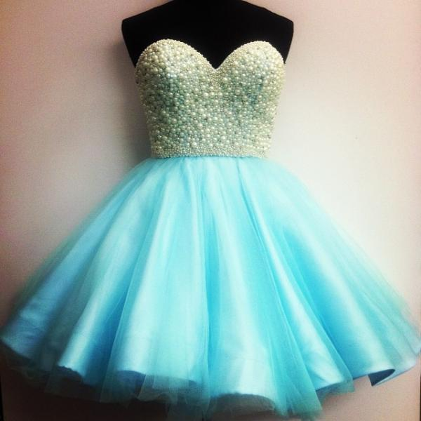 Pearls Homecoming Dresses,Ball Gowns Short Prom Dresses,Cocktail Party Dresses 2017,Blue Homecoming Dress