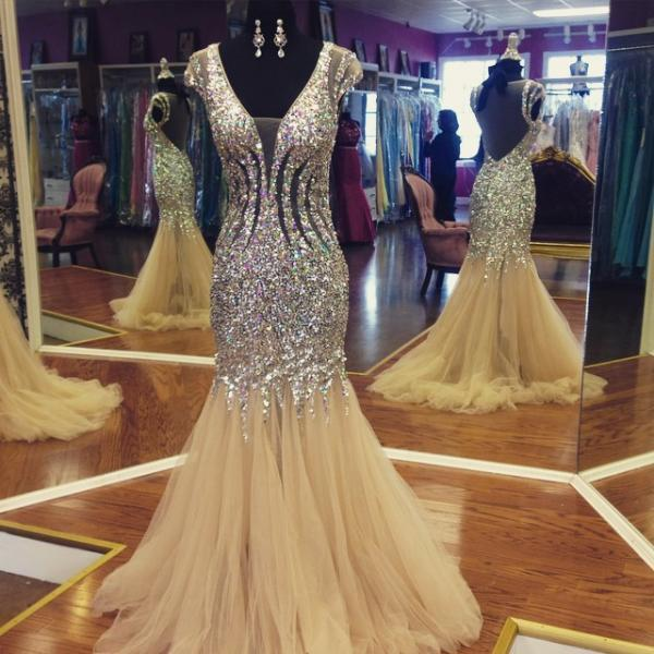 Formal Dress,Luxury Mermaid Evening Dress 2017,Sheer Back Crystal and Beads Mermaid Evening Party Dress,Champagne Prom Gowns